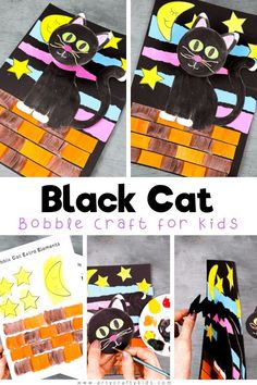 A fun, interactive and easy black craft for Halloween! Our black cat craft supports fine motor skills for pre-school and school early years children by including coloring, cutting, sticking and folding, and it also encourages concentration and precision with the different elements they need to assemble. Get the printables to make this   other Halloween crafts for kids here! Halloween Black Cat Crafts for Kids | Paper Cat Crafts for Kids | Halloween Kids Crafts #HalloweenCrafts Halloween Crafts For Kids To Make, Spooky Halloween Crafts, Fun Halloween Games, Halloween Art Projects, Easy Crafts For Kids, Halloween Kids, Ghost Crafts, Spider Crafts, Cat Crafts