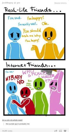 Real life friends vs Internet friends<-or what you say in real life versus what you say when texting someone