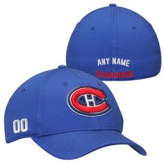 Montreal Canadiens Custom Name & Number Stretch Fit Hat - Royal Montreal Canadiens, Ml B, Fan Gear, Nhl, Baseball Hats, Number, Fitness, Stuff To Buy, Sports Teams