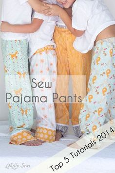 Sew Pajama Pants for any size - this tutorial is SO EASY! Draft your own patterns from rectangles, you only need two measurements - Melly Sews
