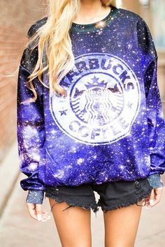 Romwe Starbucks Coffee Sweatshirt In Galaxy Print, Galaxy Shoes Starbucks Shirt, Starbucks Coffee, Starbucks Clothes, Cute Fashion, Teen Fashion, Fashion Outfits, Womens Fashion, Fashion Trends, Galaxy Sweatshirt