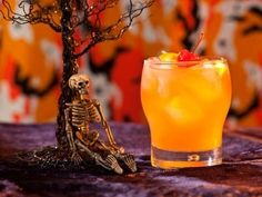 Zombie cocktail alcohol drinks autumn orange halloween