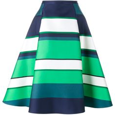 Lanvin Striped Satin Midi Skirt (2 860 AUD) ❤ liked on Polyvore featuring skirts, striped midi skirt, green skirt, stripe skirt, calf length skirts and stripe midi skirt