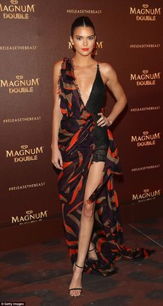 Exotic vibes: Kendall was embracing Magnum's 'Release The Beast' slogan in her gorgeous gown
