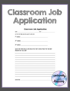 Classroom Job Application - Education Job - Ideas of Education Job - This is a classroom job application that you can use in your classroom for students to fill out. Classroom Job Application, Classroom Jobs, 2nd Grade Classroom, Science Classroom, Classroom Management, Future Classroom, Classroom Organization, Teaching Career, Teaching Skills