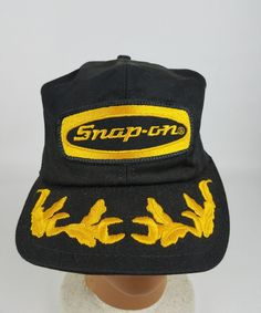 Vintage 80s SNAP-ON Mash Trucker Hat Gold Laurel Leaf Snapback Cap K- products #KProducts #BaseballCap