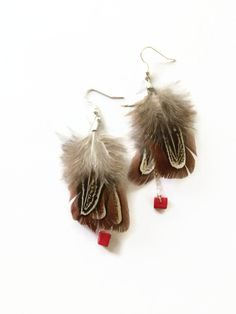 Grouse Feather Earrings Natural Feather Bohemian by JulemiJewelry