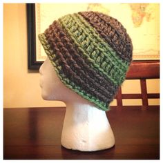 Gray Beanie with Green Band and Stripe on Etsy, $15.00