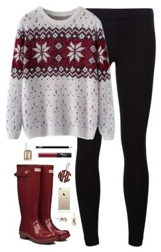 christmas spirit by classically-preppy on Polyvore featuring Chicnova Fashion, James Perse, Hunter, J.Crew, NARS Cosmetics and Essie