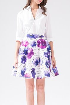 Wheretoget - White mid-sleeve shirt, and a white skater skirt with purple floral print