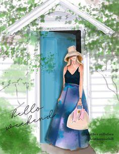 Hello Weekend, Happy Weekend, Cute Messages, Cute Illustration, Fashion Art, Formal Dresses, Beauty, Beautiful, Design