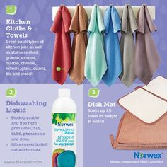 Eco friendly cleaning solutions for your kitchen and a healthy family. Norwex kitchen cloths and towels, biodegradable dishwashing liquid and super absorbant dish mat Norwex Biz, Norwex Cleaning, Green Cleaning, Cleaning Hacks, Kitchen Cleaning, Norwex Products, Cleaning Solutions, Norwex Australia, Norwex Party