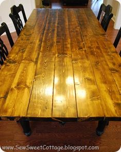 ok, HOW did she get simple Home Depot boards to look like a lovely farmhouse tabletop?!  She makes it look so easy!