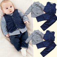 341bc99dbd34 Economico 2015 neonato signore vestito tre serie di plaid camicia a maniche  lunghe + vest +