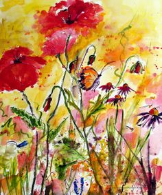 Poppies & Butterfies Provence France - love this one