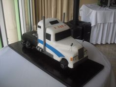 Semi-Truck Groom's Cake *First Sculpted Cake* By MadKat on CakeCentral.com