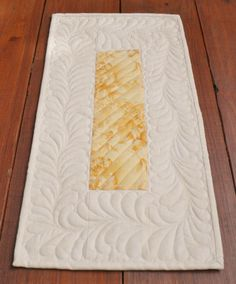 Quilted Table Topper Feather Quilting by SharleesQuiltCottage