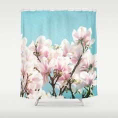 serene #ShowerCurtain by Sylvia Cook Photography - $68.00 #homedecor #flowers #floral #magnolia #shabbychic #pink #aqua #pastel