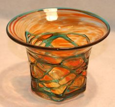 Vintage Retro Hand Blown Orange Blue/Green Mdina Glass Posy Bowl Vase - Signed