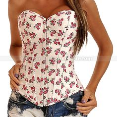 Corset Tops Outerwear | White Demin Floral Overbust Corset Outerwear Top Lace up Jean Flowers ...
