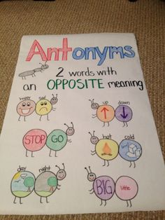 Antonyms - I made this into a worksheet for my kids, and now they have their own mini reference posters!