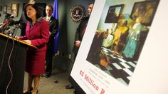 United States Attorney Carmen Ortiz speaks during a news conference at the FBI's Boston Field Office held to appeal to the public for help in returning artwork stolen in 1990 from the Isabella Stewart Gardner Museum in Boston, Massachusetts The FBI is offering a $5 million reward for the return of the paintings.