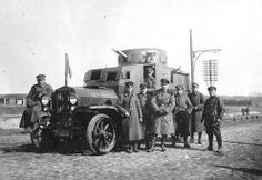 WW1 - German Officers with an armored car, Ukrain ,1918
