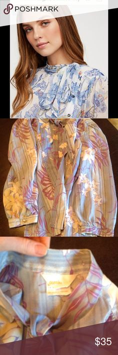 🆕💕vintage secretary blouse No tag light cotton great condition fits xs /s nOT main pic .. but super simliar😉awesome piece! vintage Tops Blouses