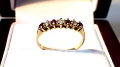 Ruby Diamond Ring  Vintage  14k Gold Band  by My3LadiesJewelry, $219.99