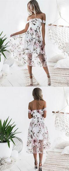 A-Line Off the Shoulder Pink Printed Dress, fashion floral dresses, chic off the shoulder party dresses #floraldress