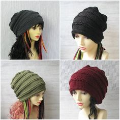 Knitted hat for dreadlocks Grey long slouchy beanie men