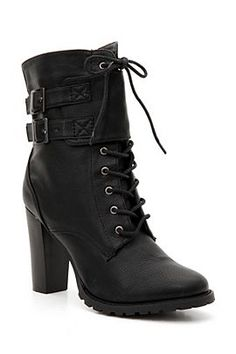 Jacobies Black Lace-Up Buckle Flap Heel Boot. Hot Topic - $36.50