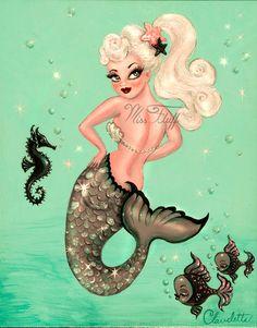Claudette Barjoud – Pin Up Persuasion Miss Fluff, Fantasy Mermaids, Mermaids And Mermen, Pin Up Mermaid, Mermaid Pinup, Fat Mermaid, Dark Alice In Wonderland, Mermaid Pictures, Mermaid Tattoos