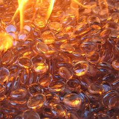 Coming Deco Glass Reflective Fire Glass Beads 10-Pound (Champagne Luster) More