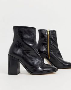 new concept 89253 564e2 River Island heeled leather boots with seam detail in black