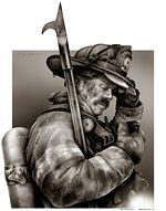 Firefighter Illustration by Paul Combs - Illustration and Limited Edition Fire and Rescue Artwork created by Paul Combs Firefighters, Firemen, Fire Department, Video Game, Police, Lion Sculpture, Statue, History, Illustration