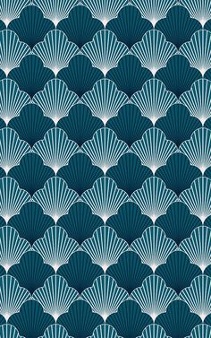 Invite stylish navy blue tones and creative design to your space with this impressive Blue Art Deco Scallop Pattern Wallpaper Mural, a modern take on tradi Navy Wallpaper, Art Deco Wallpaper, Luxury Wallpaper, Modern Wallpaper, Pattern Wallpaper, Art Deco Bedroom, Art Deco Stil, Bespoke Design, Blue Art