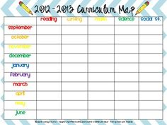 Blank curriculum map template curriculum map template for Kindergarten curriculum map template
