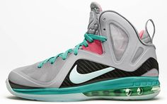 huge discount 5fd70 4a829 Love the colorways on this Nike LeBron 9 P.S. Elite South Beach sneaker! Nike  Lebron