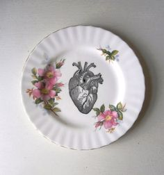Heart served up on a platter. Vintage Anatomical Heart Plate Altered Art
