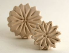 Clay Stamps -- Gift Set of Two Bisque Flower Stamps -- Spring Garden Flowers for Pottery Ceramic Polymer Clay