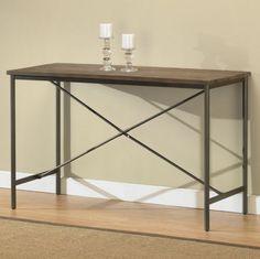 Transitional Sofa Table Home Furniture Weathered Grey Oak Finish Powder Coated