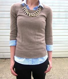 Button Up: H&M  Buy Here   Sweater: Gap Outlet  Similar Here , Here in Cashmere , and Here as a Cardigan   Pants: Expr...