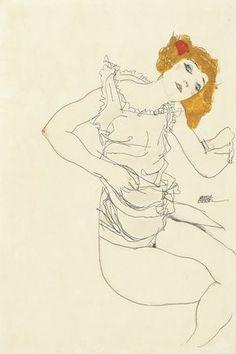 Egon Schiele Blondes mädchen im unterhemd. 1913 gouache and pencil on paper 46.5 by 31 cm.