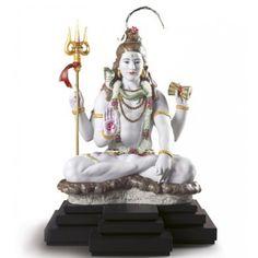 Lladro - LORD SHIVA,Sculpture of the Hindu god Lord Shiva in white porcelain with gold lustre and handmade flowers Lord Shiva Hd Images, Lord Shiva Hd Wallpaper, Shiva Linga, Shiva Shakti, Hindus, Wine Wallpaper, Rama Sita, Hindu Symbols, Special Rangoli