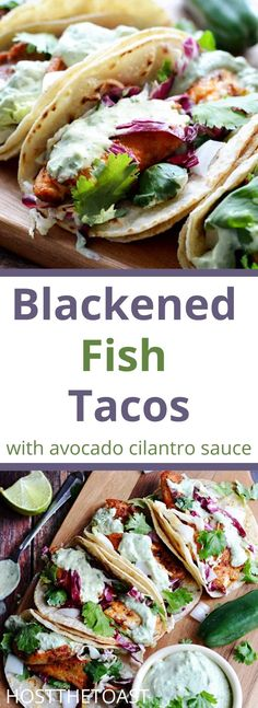 This blackened fish taco recipe has a delicous avocado sauce made with cilantro. You and your family will love this meal! Click here to get the full recipe! Seafood Boil Recipes, Lobster Recipes, Shellfish Recipes, Low Carb Dinner Recipes, Vegetarian Recipes Dinner, Healthy Recipes, Seafood Lasagna, Seafood Dinner, Crab Risotto