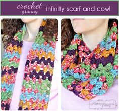 Crochet Granny Infinity Scarf and Cowl Free Pattern