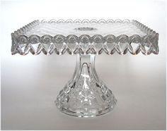 1930's Fostoria American Crystal Glass SQUARE Pedestal Cake Plate...
