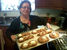 My proud nonna, taking my gluten free Easter bread out of the oven after a long day in the kitchen.