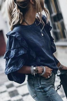 Round Neck Plain Blouses Fashion Wear, Fashion Outfits, Fashion Clothes, Lace Jumpsuit, Bell Sleeve Blouse, Blouse Outfit, Casual Sweaters, Types Of Fashion Styles, Blouses For Women